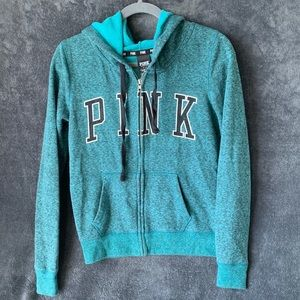VS Pink Hoodie with Spell Out on Front Full Zip